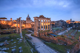 The Blue Light of Dusk on the Ancient Imperial Forum  UNESCO World Heritage Site  Rome