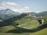 View from the Piano Grande Towards Castelluccio  Umbria  Italy  Europe