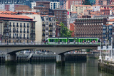 Tram Crossing the River Nervion in Bilbao  Biscay (Vizcaya)  Basque Country (Euskadi)