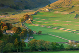 Early Morning Light on Dry Stone Walls and Fields Beside Yorkshire Dales Village of Arncliffe