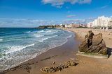 Large Rock on the Beach and Seafront in Biarritz  Pyrenees Atlantiques  Aquitaine  France  Europe
