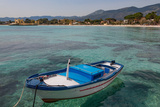 Traditional Colourful Fishing Boat Moored at the Seaside Resort of Mondello  Sicily  Italy