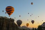 Hot Air Balloons Cruising over Cappadocia  Anatolia  Turkey  Asia Minor  Eurasia