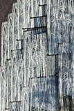 Exterior Detail of Grey Glass Panels Imprinted with Willow Branches Pattern