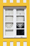 Window Detail of a Yellow Painted Beach House in Costa Nova  Beira Litoral  Portugal
