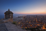 Sunset View over the Cityscape of Alicante Looking Towards the Lookout Tower and Port of Alicante