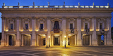 The Palazzo Nuovo of the Capitoline Museums  on the Piazza Del Campidoglio at Night  Rome