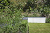L-Shaped Concrete Bench with Slate Top in Garden  London