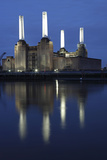 Battersea Power Station in London at Dusk with the Thames in the Foreground  London  England