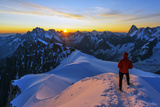 Europe  France  Haute Savoie  Rhone Alps  Chamonix  Aiguille Du Midi Snow Arete  Sunrise (Mr)
