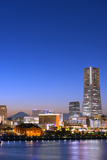 Asia  Japan  Honshu  Yokohama Bay  City Skyline and Mt Fuji  Landmark Tower