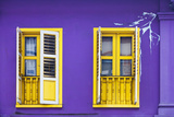 Colourful Purple Painted House and Yellow Window Detail on Tanjong Pagar Road  Singapore