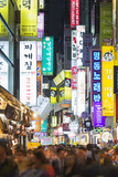 Asia  Republic of Korea  South Korea  Seoul  Neon Lit Streets of Myeong-Dong