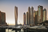 Dubai Marina at Sunset with the Cayan Tower (Infinity Tower)