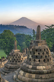 Indonesia  Java  Borobudur Early Morning Sun Shines on the Dormant Stratovolcano