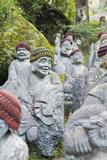Asia  Japan  Honshu  Hiroshima Prefecture  Miyajima Island  Statues in Daisho in Temple