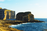 Mediterranean Europe  Malta  Gozo Island  Dwerja Bay  Hikers at Fungus Rock