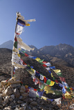 Nepal  Mustang Prayer Flags Fluttering at Dajori La Pass  High Up Above the Village of Samar