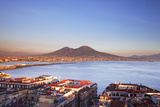 Italy  Campania  Naples Elevated View of the City with Mount Vesuvius in the Background