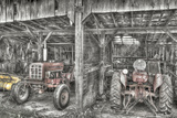 Two Red Tractors BW