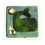 Green Whale Monoprint