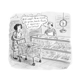 "A man behind the fish counter asking  ""Wild-caught  farm-raised  lab-grown - New Yorker Cartoon"