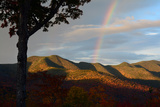 A Rainbow in the Sky at Dawn as Seen from the Hancock Overlook on the Kancamagus Highway