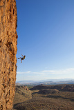 A Male Rock Climber Rappelling in Snow Canyon State Park