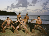 Young Men Perform a Traditional Haka or Warrior Dance in the Marquesas Islands