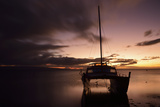 Pink Sunset over the Pacific Ocean with an Anchored Catamaran on Molokai  Hawaii