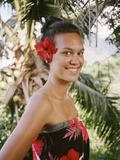 A Young Woman Models Traditional Dress in the Marquesas Islands