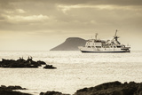 A Luxury Passenger Ship Sails around the Galapagos Islands
