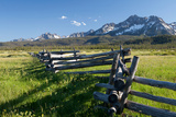 A Wooden Fence Zigzags Toward the Sawtooth Range in Idaho