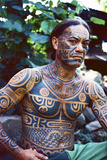 A Man Displays His Traditional  Full Body Tattoos in the Marquesas Islands