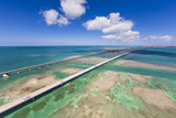 Aerial View of the Seven Mile Bridge Near Marathon Island in the Florida Keys