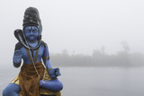 Lord Shiva Statue on the Ganga Talao Lake or Grand Bassin  a Sacred Hindu Site