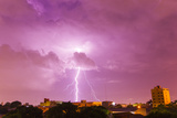 A Powerful Lightning Storm with Frequent Lightning Bolts Striking Downtown Asuncion