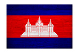 Cambodia Flag Design with Wood Patterning - Flags of the World Series