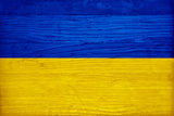 Ukraine Flag Design with Wood Patterning - Flags of the World Series