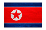 North Korea Flag Design with Wood Patterning - Flags of the World Series