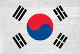 South Korea Flag Design with Wood Patterning - Flags of the World Series