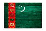 Turkmenistan Flag Design with Wood Patterning - Flags of the World Series