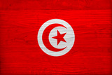 Tunisia Flag Design with Wood Patterning - Flags of the World Series