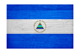 Nicaragua Flag Design with Wood Patterning - Flags of the World Series