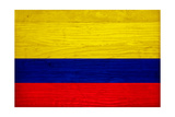 Colombia Flag Design with Wood Patterning - Flags of the World Series