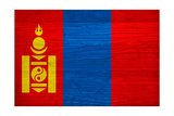 Mongolia Flag Design with Wood Patterning - Flags of the World Series
