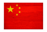 China Flag Design with Wood Patterning - Flags of the World Series