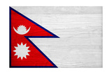 Nepal Flag Design with Wood Patterning - Flags of the World Series