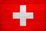 Switzerland Flag Design with Wood Patterning - Flags of the World Series