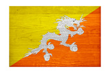 Bhutan Flag Design with Wood Patterning - Flags of the World Series